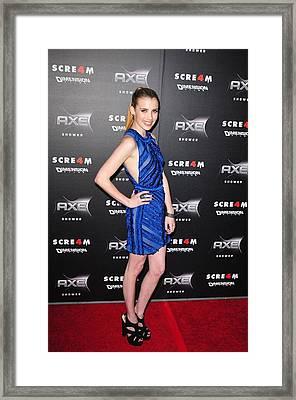 Emma Roberts  Wearing A Burberry Framed Print by Everett