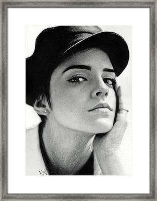 Emma Watson Framed Print by Nat Morley
