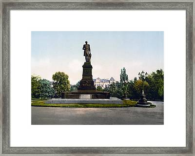 Emperor Nicholas I Monument In Kiev - Ukraine - Ca 1900 Framed Print by International  Images