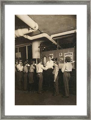 Employees Lined Up At The Lunch Framed Print by Everett