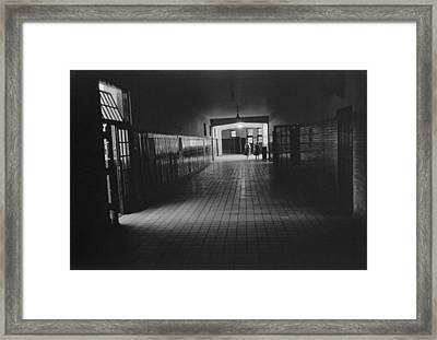 Empty Hallway At Central High School Framed Print by Everett