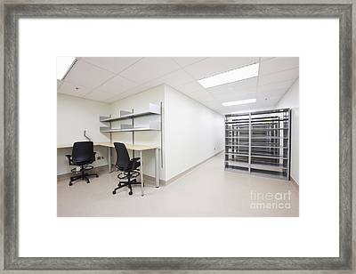 Empty Metal Shelves And Workstations Framed Print by Jetta Productions, Inc