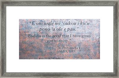 Endless Is The Good ... Framed Print by Ralf Kaiser
