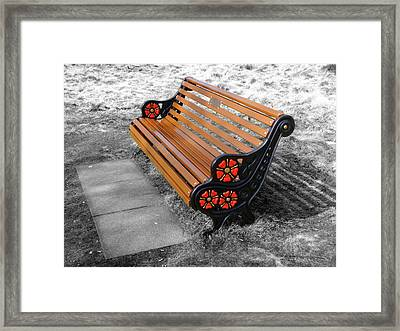 Selective Coloring Framed Print featuring the photograph English Bench by Roberto Alamino