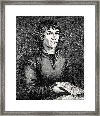 Engraving Of Nicolas Copernicus, Polish Astronomer Framed Print by Dr Jeremy Burgess