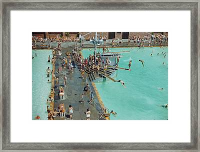 Enjoying The Pool At Jones Beach State Framed Print by B. Anthony Stewart