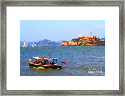 Enjoying The San Francisco Bay With Alcatraz Island In The Distance . 7d14323 Framed Print by Wingsdomain Art and Photography