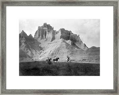 Entering The Badlands, Three Sioux Framed Print by Everett
