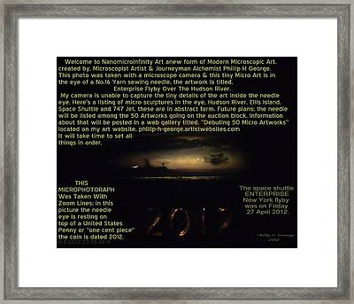 Enterprise Flyby Over Hudson River Info Photo No. One Framed Print by Phillip H George