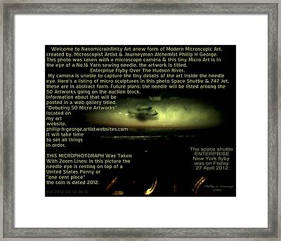 Enterprise Flyby Over The Hudson River Info Photo No.6  Framed Print by Phillip H George