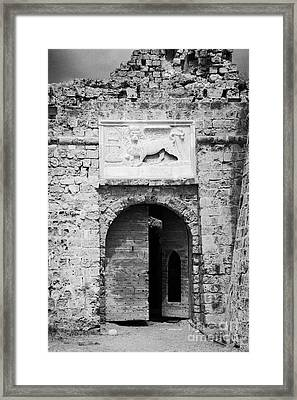 Entrance To Othello Tower In Old City Walls Looking Out To The Harbour Famagusta  Framed Print by Joe Fox