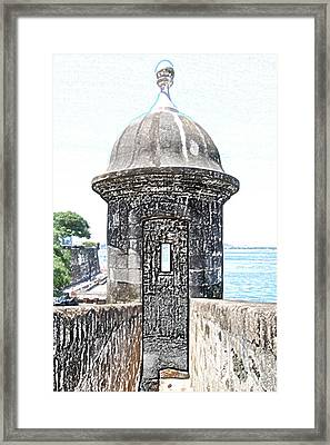 Entrance To Sentry Tower Castillo San Felipe Del Morro Fortress San Juan Puerto Rico Colored Pencil Framed Print by Shawn O'Brien