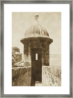 Entrance To Sentry Tower Castillo San Felipe Del Morro Fortress San Juan Puerto Rico Vintage Framed Print by Shawn O'Brien