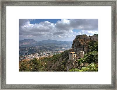 Erice Castle Sicily Framed Print by Anik Messier