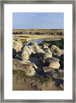Eroded Sandstone Hoodoos, Alberta Framed Print by Kaj R. Svensson