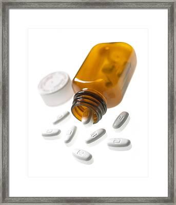Erythromycin Antibiotic Pills Framed Print by Mark Sykes