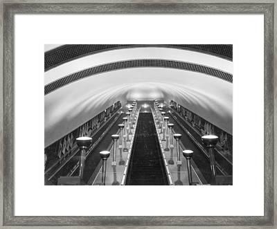 Escalators In A Tube Station Framed Print by Maynard Owen Williams