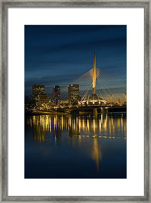 Esplanade Bridge Over Red River Framed Print by Mike Grandmailson