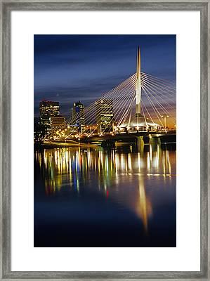 Esplanade Riel Footbridge On Red River Framed Print by Mike Grandmailson