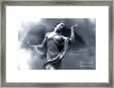 Ethereal Dreamy Surreal Heavenly Angel Wings Framed Print by Kathy Fornal