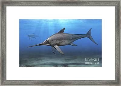Eurhinosaurus Longirostris Swimming Framed Print by Sergey Krasovskiy