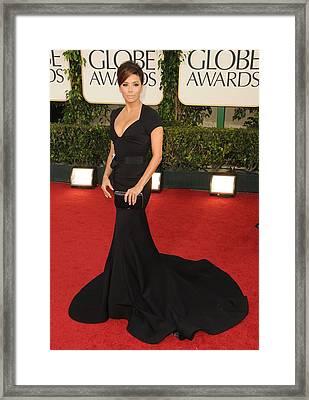 Eva Longoria Wearing A Zac Posen Gown Framed Print by Everett