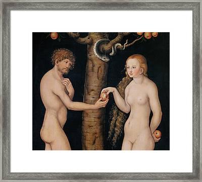 Eve Offering The Apple To Adam In The Garden Of Eden Framed Print by The Elder Lucas Cranach