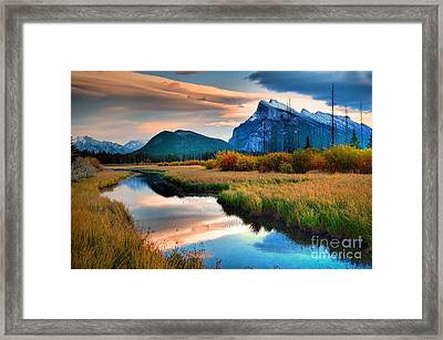 Evening Light And Autumn In Banff Framed Print by Tara Turner
