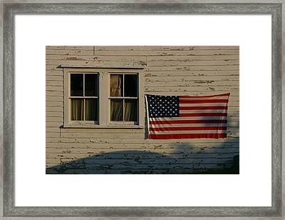 Evening Light On An American Flag Framed Print by Stephen St. John