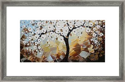 Evening Peace White Blossoming Tree Of Life Framed Print by Christine Krainock