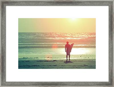 Evening Surfer Framed Print by Paul McGee