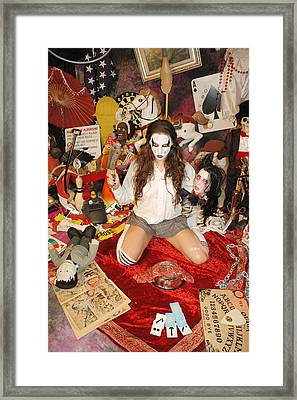 Evil Schoolgril - On Her Knees Framed Print by Liezel Rubin