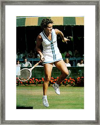 Evonne Goolagong Framed Print by John Loyd Rushing