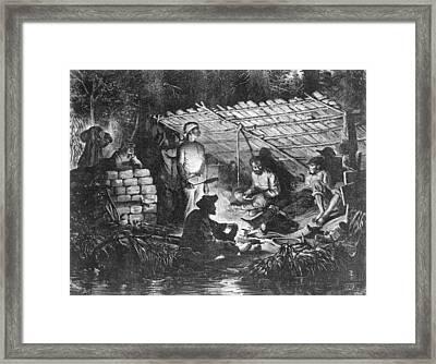 Ex-slaves Hiding In The Swamps Framed Print by Everett
