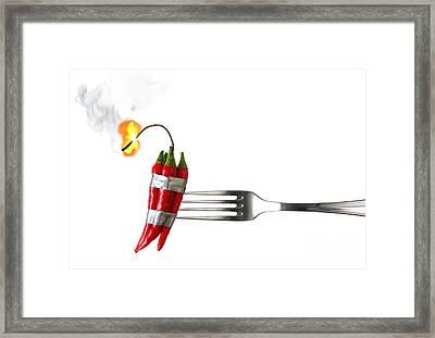 Explosive Food Framed Print by Carlos Caetano