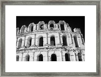 External View Of Three Upper Tiers Of Archways Of Old Roman Colloseum El Jem Tunisia Framed Print by Joe Fox