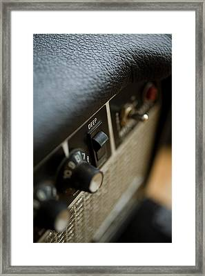 Extreme Close-up Angled Shot Of An Amplifier Framed Print by Christopher Kontoes