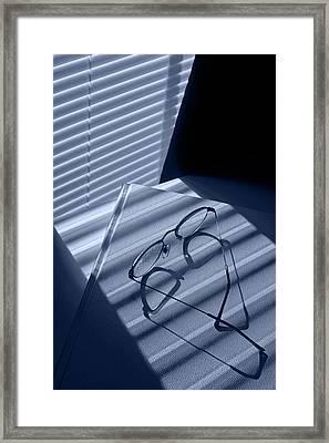 Eye Glasses Book And Venetian Blind In Blue Framed Print by Randall Nyhof