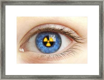 Eye With Radiation Warning Sign Framed Print by Pasieka