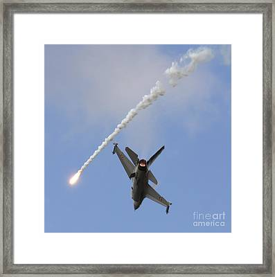F-16am Fighting Falcon Spitting Flare Framed Print by Timm Ziegenthaler