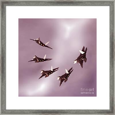 F22 Raptor Times Five Framed Print by Angel  Tarantella