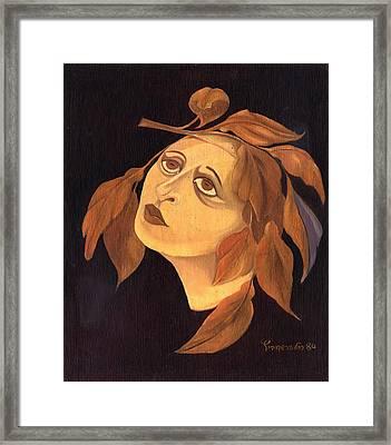 Face In Autumn Leaves Framed Print by Rachel Hershkovitz