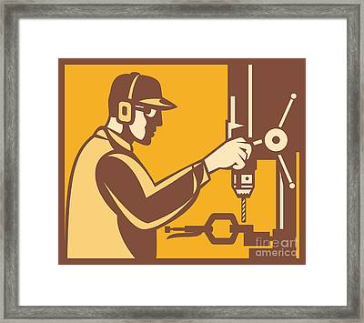 Factory Worker Operator With Drill Press Retro Framed Print by Aloysius Patrimonio