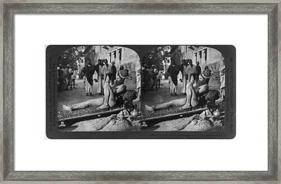 Fakir On His Bed Of Spikes Framed Print by Everett