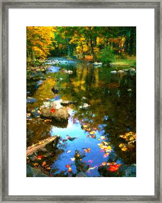 Fall Color At The River Framed Print by Suni Roveto