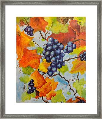 Fall Grapes Framed Print by Carole Powell