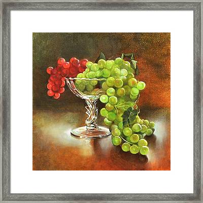 Fall Grapes Framed Print by Cynthia Peterson