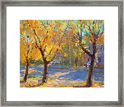 Fall In My Neighborhood Framed Print by Ylli Haruni