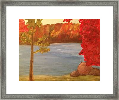 Fall On River Framed Print by Paula Brown