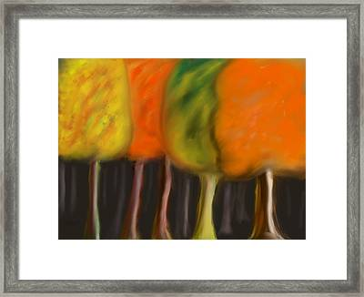 Fall Trees Framed Print by Paula Brown